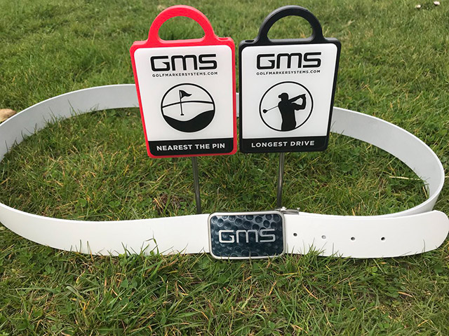 GMS Golf Marker Systems nearest the pin markers, longest drive markers and personalised belt buckle for corporate events.