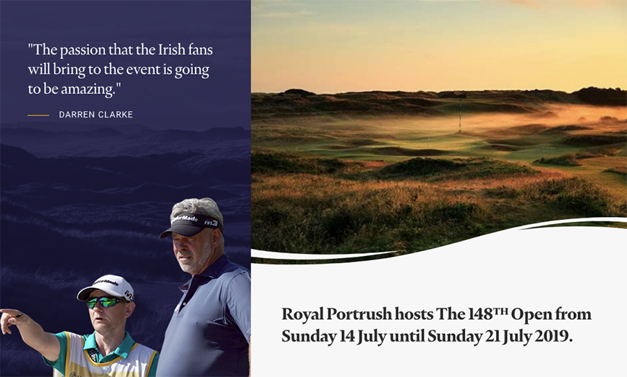 Graphic and quote for Royal Portrush, Northern Ireland