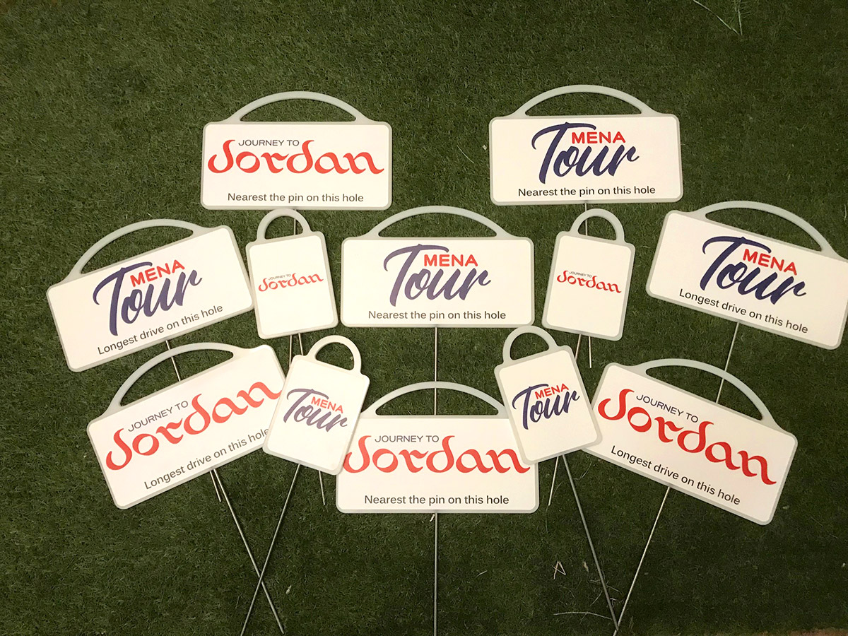 Tour Mena and Journey to Jordan Nearest the Pin Markers and Longest Drive Markers by Golf Marker Systems
