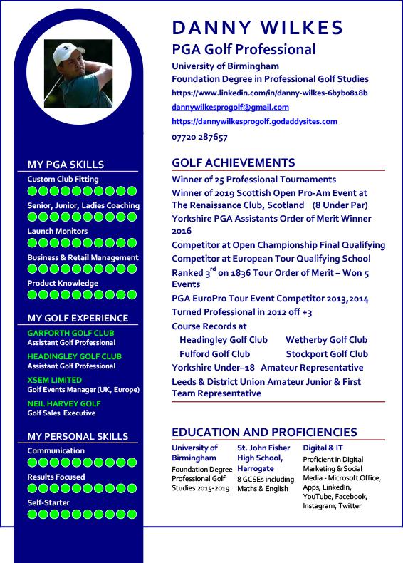 CV of pro golfer Danny Wilkes