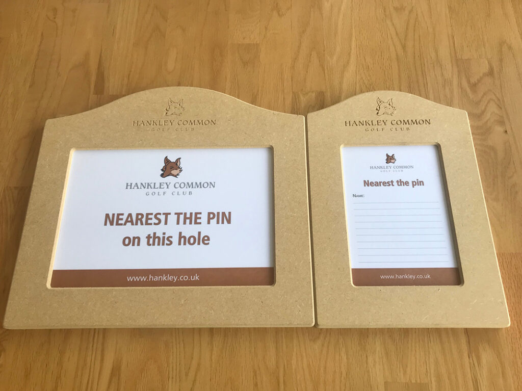Landscape and Portrait Wooden Golf markers designed by GMS
